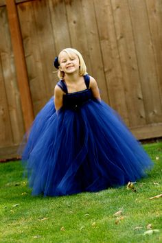 Navy Blue Flower Girl Tutu Dress  - Sizes 5 thru 7
