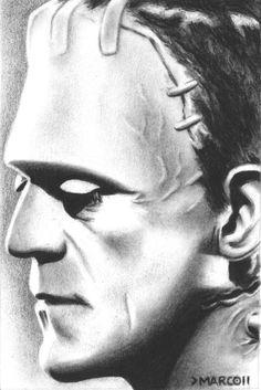 Frankenstein Art Drawing  Portrait of Boris by MarcDLewisArt, £35.00