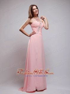 Baby Pink Empire One Shoulder Brush Train Chiffon Beading and Ruch Prom Dress- $138.49  http://www.fashionos.com  http://www.facebook.com/prom.fashionos.us  Do you want to experience the feeling of being the princess?Come to this dress,you will definitely gain the most compliments in the prom.This peach prom dress features its one shoulder design that encrusted with exquisite beadings from the front to the back and the ruching can easily defines your waistline.