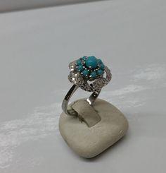 168 mm Ring Silber 925 Achat hellblau Blume SR527 von Schmuckbaron