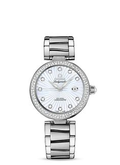 Omega Deville 34mm SS/SS Diamond Bezel Diamond White MOP Dial.  Now available at Diamond Dream Fine Jewelers https://www.facebook.com/pages/Diamond-Dream-Fine-Jewelers/170823023636 https://www.diamonddreamjewelers.com info@diamonddreamjewelers.com 908.766.4700