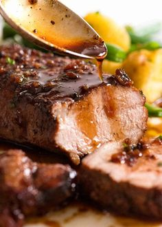 Pork Tenderloin With Honey Garlic Sauce RecipeTin Eats. Crockpot Pork Loin In Creamy Garlic Sauce Best Glazed Pork Tenderloin Recipe How To Cook Pork . Pork Tenderloin Rub, Pork Fillet, Pork Tenderloin Recipes, Pork Chop Recipes, Pork Tenderloins, Pork Roast, Roast Brisket, Game Recipes, Meat Recipes