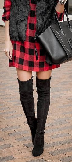 fall outfit ideas / red plaid dress + OTK boots