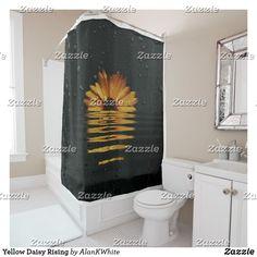 Shop Yellow Daisy Rising Shower Curtain created by AlanKWhite. Modern Bathroom Decor, Custom Shower Curtains, Powder Room, Tub, Personal Style, Daisy, Yellow, Simple, Color