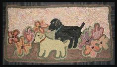 Rug Hooking Pattern Labrador Pups in the by Briarwoodfolkart
