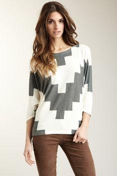 Geometric Stairs Dolman Tunic Sweater