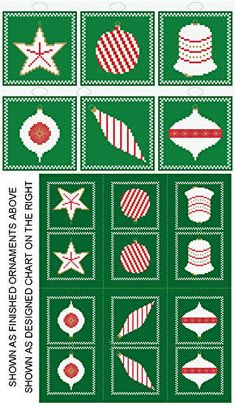 Tree Decorations 6 Ornament Set - Christmas cross stitch pattern designed by Susan Saltzgiver. Category: Ornaments.