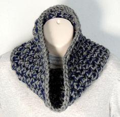 Mens Cowl Crochet Scarf Grey Navy por SimplyStitcheduk en Etsy, £12.00