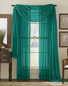 LuxuryDiscounts 1 Piece Solid Black Elegant Sheer Curtains Fully Stitched Panels Window Treatment Drape X
