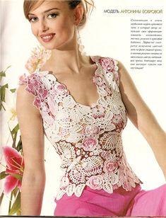 irish crochet top, pattern included