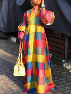 Floor-Length Long Flare Sleeve V-Neck Pullover Womens Maxi Dress - Moda daily African Maxi Dresses, African Attire, Spring Dresses Casual, Dress Casual, Fall Dresses, Casual Summer, Casual Chic, Floor Length Dresses, Maxi Dress With Sleeves