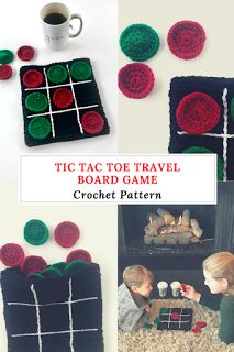 Tic Tac Toe game board crochet pattern for a travel size game board. Store your pieces inside the game - by Little Monkeys Designs.
