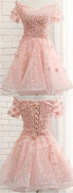 Pink Off Shoulder Short Sleeves Lace Beading Appliques Short Prom Dress,482