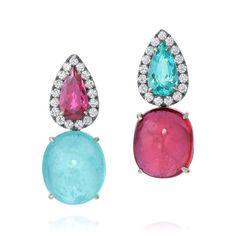 Brincos Blossom - Amsterdam Sauer Rubellite, Paraiba Tourmaline and Diamond Earrings