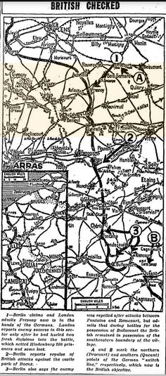 """WWI, 9 May 1917: """"Berlin claims and London admits Fresnoy now is in the hand of the Germans. London reports enemy success in this sector only after he hurled two fresh divisions into the battle"""" -Chicago Tribune"""