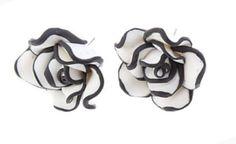 Black & White Rose Stud Earrings