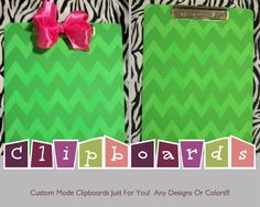 Green and Pink Chevron Print Clipboard on Etsy