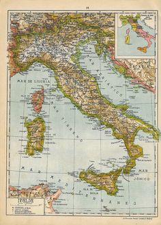 1942 Map of Italy #map #Italy #1940s