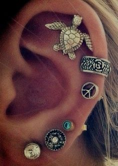 I only need two more on each ear to have this! I wont do the very top on my right thought, i already have it on my left... I need to get a cuff too.