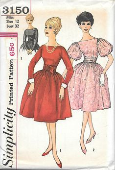 Simplicity 3150 UNCUT 1950s Bateau Neck Dress with Puffed