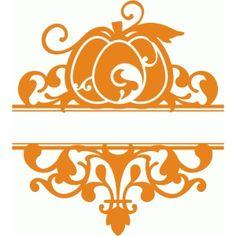 Silhouette Design Store: split pumpkin flourish damask