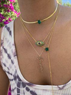 Funky Jewelry, Stylish Jewelry, Dainty Jewelry, Cute Jewelry, Fashion Jewelry, Herringbone Necklace, Grillz, Emerald Color, Color Stone