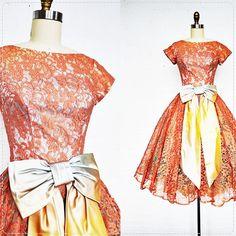 Reserved - 60's lace dress / 1960's party dress / Aqua Rose. $142.00, via Etsy.