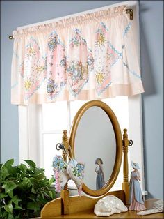 """Pull out that collection of hankies stashed in your drawer and use them to stitch a soft valance and pillow accents. Finished size 22"""" x 88"""".    Skill Level: Easy"""