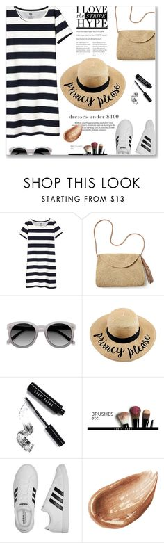 """""""Dresses under $100"""" by jan31 ❤ liked on Polyvore featuring Mar y Sol, EyeBuyDirect.com, Bobbi Brown Cosmetics, adidas, Jouer, stripes, sneakers, under100 and tshirtdresses"""