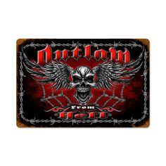 From the Steve McDonald licensed collection, this Outlaw From Hell vintage metal sign measures 12 inches by 18 inches and weighs in at 2 lb(s). We hand make all of our vintage metal signs in the USA using heavy gauge american steel and a process known as sublimation, where the image is baked into...