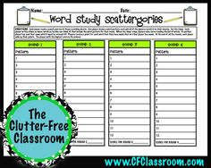 word study activities for word patterns