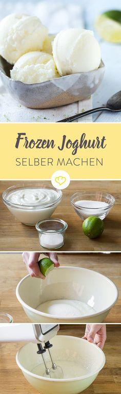 Zugegeben – auch im Winter muss es ab und zu ein Becher Frozen Joghurt sein. Blöd nur, dass die meisten Läden während der kalten Tage schließen. Deshalb darauf verzichten? Niemals! Einzige Lösung: Selber machen – so schwer kann das doch nicht: Man nehme einen cremig gerührten Joghurt, eine Prise Zucker und eine Eismaschine. Und fertig ist eine herrlich frische Joghurtkreation.