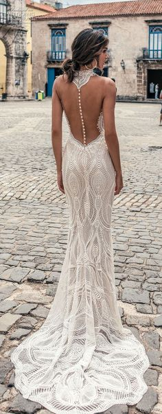 julie vino fall 2018 havana sleeveless halter jewel neck deep plunging sweetheart neck full embellishment elegant sexy fit and flare sheath wedding dress shear button back sweep train (13) bv