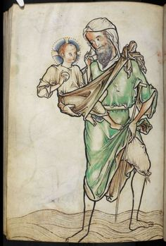 Christopher carrying the Infant Christ. The Westminster Psalter folio 220r.Dated to 1200 - 1250, from The Benedictine Abbey of Westminster England.