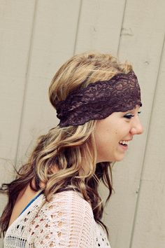 Brown Stretch Lace Headband from BglorifiedBoutique on Etsy. Saved to Accessories for her. Headband Wrap, Lace Headbands, Boho Fashion, Fashion Beauty, Stretch Lace, Gorgeous Hair, Hair Inspiration, Hair Bows, Cool Hairstyles