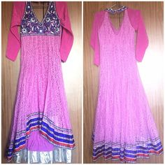 Indian anarkali/Indian dress/Bollywood dress. Cheaper on the other site.             Beautiful purple anarkali or high low dress. There's no stain or anything. Only thing missing is one hook as you can see in the pic ( back side of the dress). Have a chain on the left size which makes it easy to wear and when you take off the dress. It also have a padding bra inside. Comes with matching pajama and dupatta. Size is 32 but I think it will fit 34. **price is negotiable** Dresses