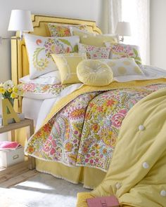Bedroom With Yellow Bed And Bedlinen