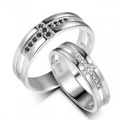 Matching Christian Sterling Silver Cross CZ Wedding Engagement Rings Set