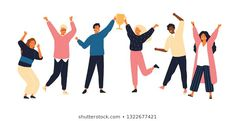 -Vectores, imágenes y arte vectorial de stock sobre- Group of young joyful people with champion cup isolated on white background. Happy positive men and women celebrating victory and rejoicing together. People Illustration, Flat Illustration, Digital Illustration, Teen Titans, Birthday Celebration Quotes, Celebration Background, Celebration Around The World, Presentation Design, Online Presentation