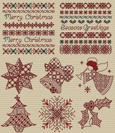 Maria Diaz Designs: Blackwork Christmas (Cross-stitch chart)