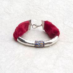 Women's exotic tribal bracelet with bead from Ghana