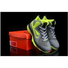 e13e70e3b4406 Nike Lebron 9 Kids Shoes Grey Green