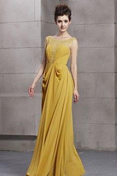Robe de soiree jaune et gris