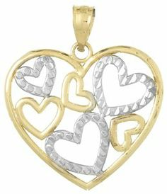 Amazon.com: 14k Gold Love Necklace Charm Pendant, Heart Cluster In High Polish Heart Frame,: Million Charms: Jewelry