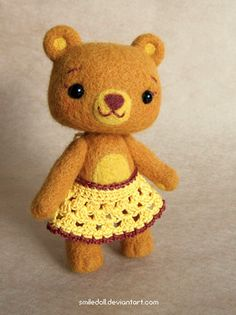 Needle felted Bear by Katy-Doll.deviantart.com on @deviantART