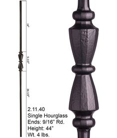 2.11.40 Single Hourglass Ends: 9/16″ Rd. Height: 44″ Wt. 4 lbs. Pairs with: All 9/16″ Rd. Balusters Shoes: 16.3.26, 16.3.27 The 2.11.40 Tuscan round series iron baluster features a single 5-1/2″ hourglass. This baluster is solid wrought iron and is 9/16″ round on the ends. It uses the shoes for the nine sixteenth inch balusters 16.3.26 and 16.3.27. This single hourglass baluster pairs with all other Tuscan round series balusters. Stair Railing, Railings, Stairs, Iron Balusters, Hourglass, Oil Rubbed Bronze, Wrought Iron, Cross Reference