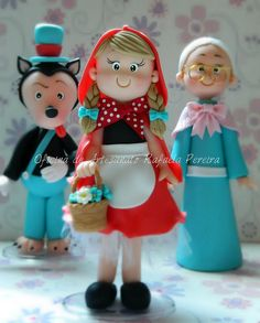 Red Riding Hood, grandmother and wolf Polymer Clay Figures, Cute Polymer Clay, Polymer Clay Dolls, Polymer Clay Creations, Clay Projects, Clay Crafts, Fondant People, Red Riding Hood Party, Little Red Ridding Hood