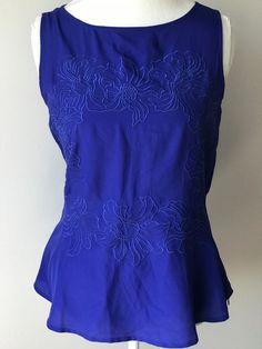 6e4df4fdef3 ANN TAYLOR Women NWT Navy Blue Sleeveless Top Sz 4 Peplum Floral Embroider  1018  AnnTaylor