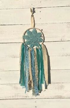 Small Dream Catcher. Teal/blue/tan....gorgeous for any room in the house!