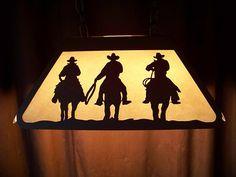 Laser Cut Steel COWBOY HORSE & ROPER Med Pool Table Desk Lamp rustic cabin Price:US $169.00